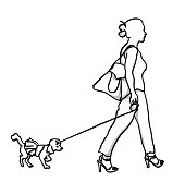 A young woman walking with her poodle