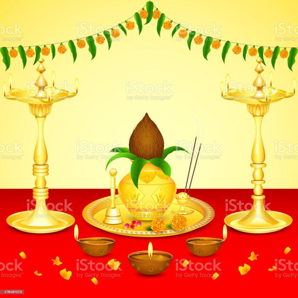 Pooja Kalash royalty-free stock vector art