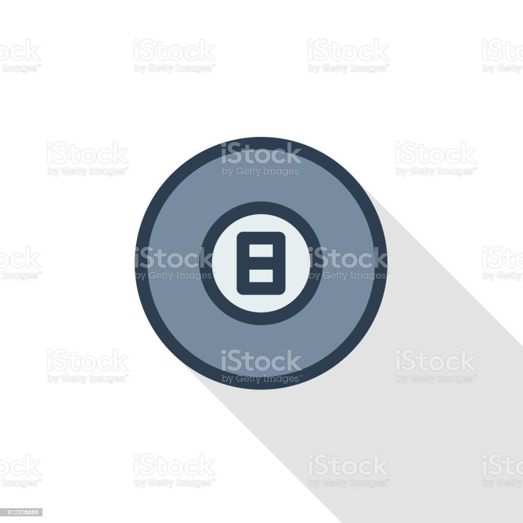 Pool 8 ball, Billiard symbol thin line flat color icon. Linear vector symbol. Colorful long shadow design. vector art illustration