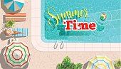 Vector illustration of woman lying on lounge and relaxing at poolside with summer time words.
