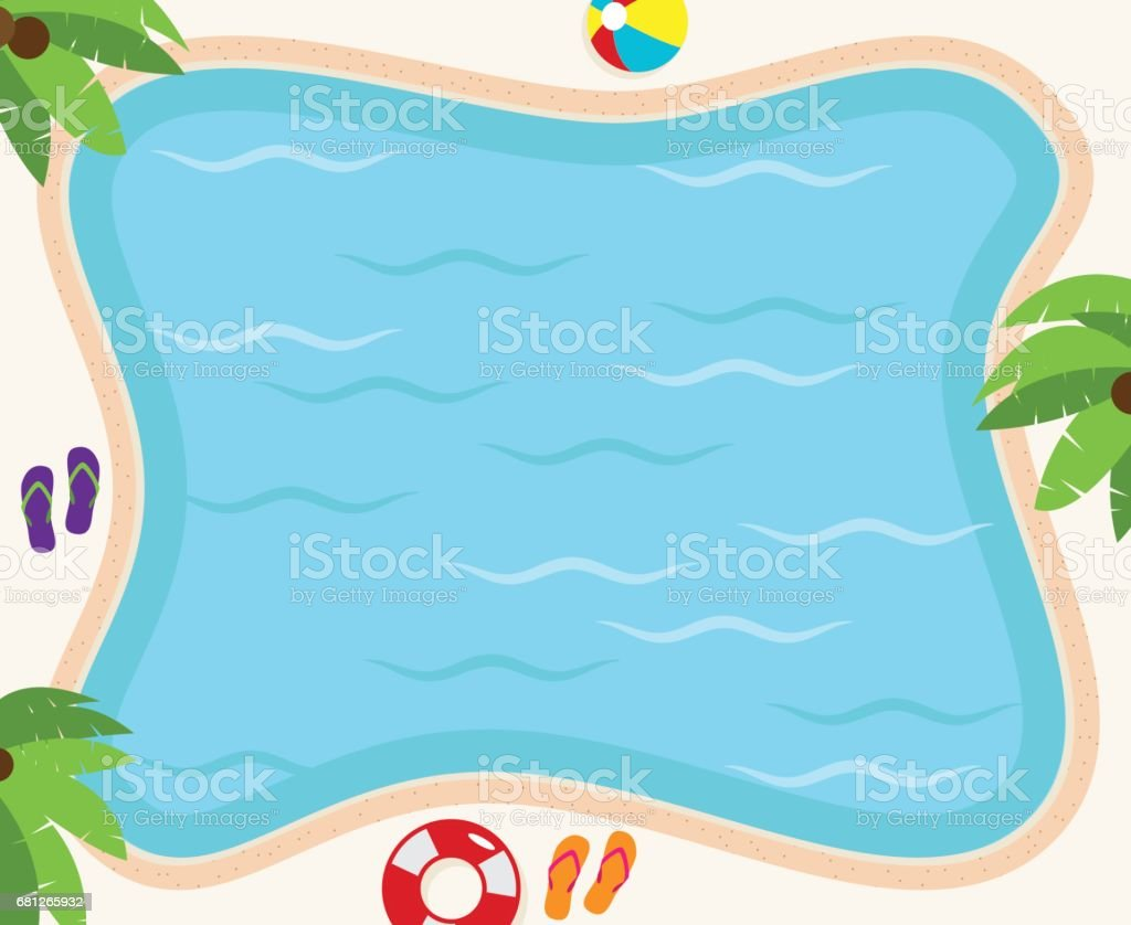 Pool Background in Vector Format with Palm Trees, Flip Flops and Ball vector art illustration