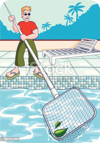 Pool cleaner stock vector art more images of adult 165752258 istock for Swimming pool cleaning service prices