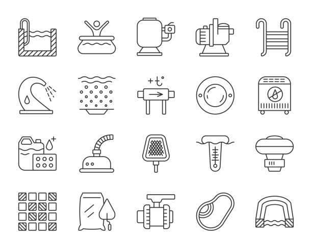 illustrations, cliparts, dessins animés et icônes de équipement de piscine simple ligne noire icônes vecteur ensemble - piscine