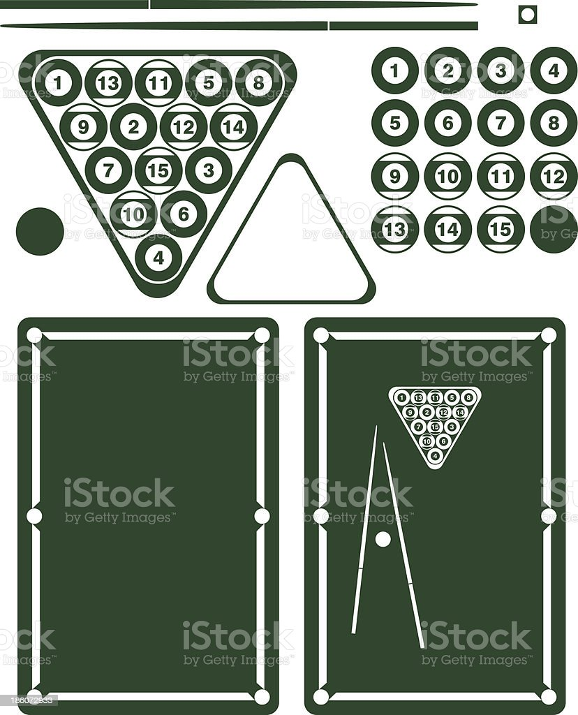 Pool Game. Set royalty-free pool game set stock vector art & more images of after work