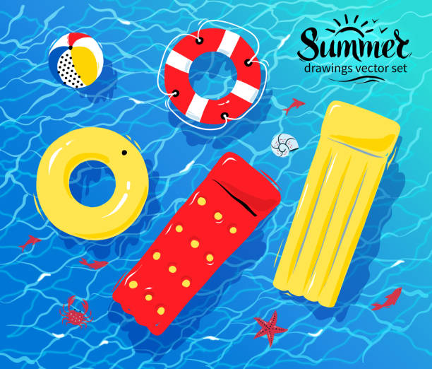 Pool inflatable toys on water Vector illustration of pool rafts, rubber ring, beach ball and lifebuoy floating on water. tube stock illustrations