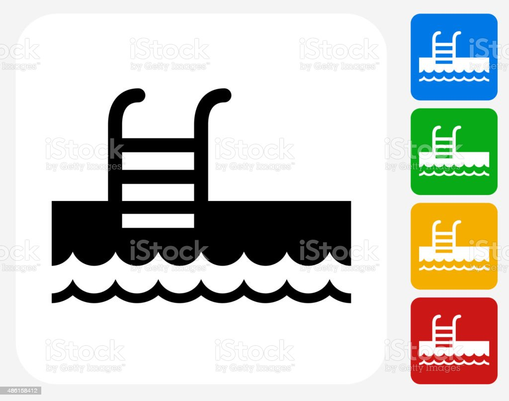 Pool ladder icon flat graphic design stock vector art for Pool design graphic