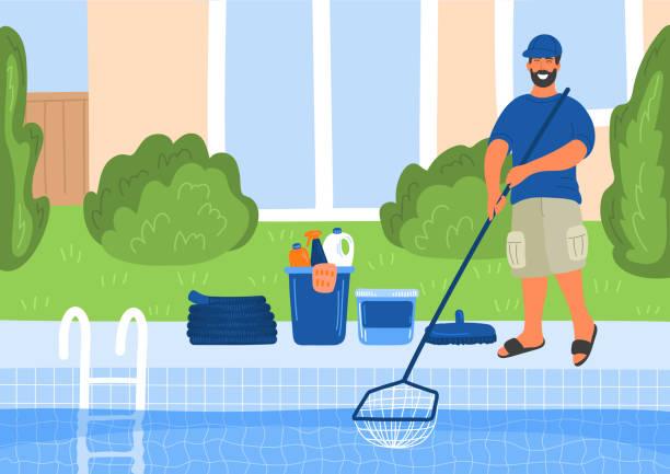 illustrations, cliparts, dessins animés et icônes de entretien de la piscine. nettoyant de piscine - piscine