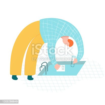 Pool maintenance worker testing water for quality. Whimsical vector hand drawn illustration. Cleaning services. Open pool test.