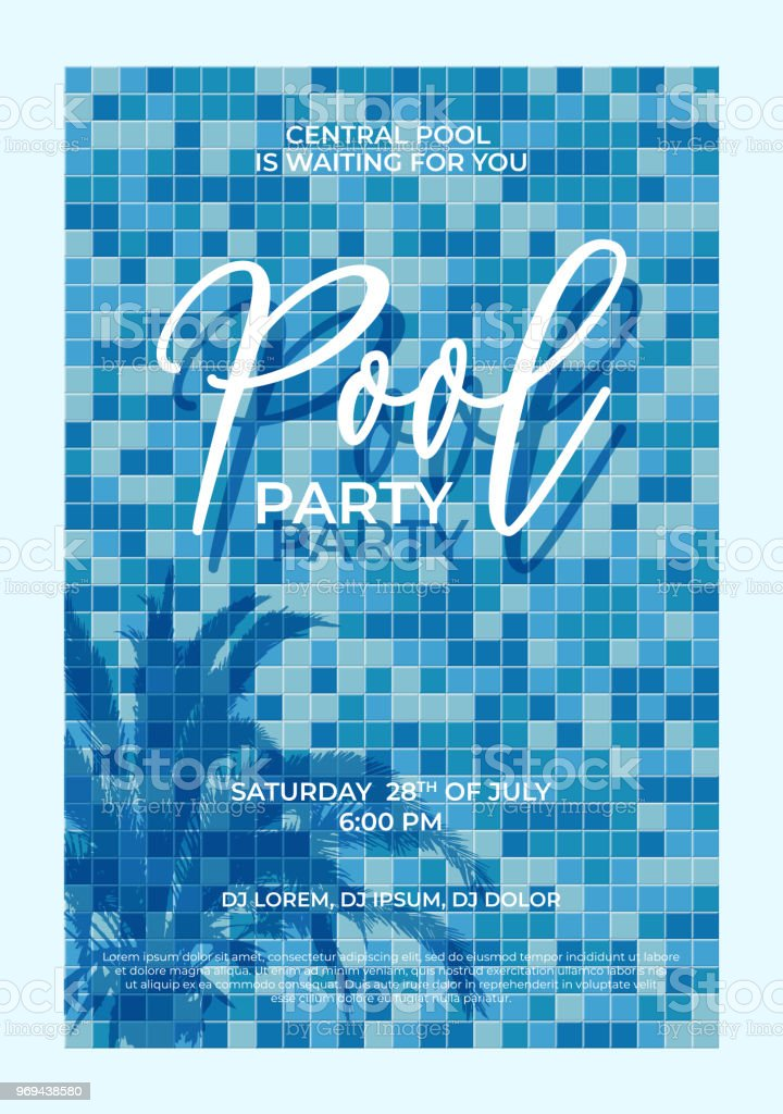 pool party announcement template vector palm tree shadow and pool