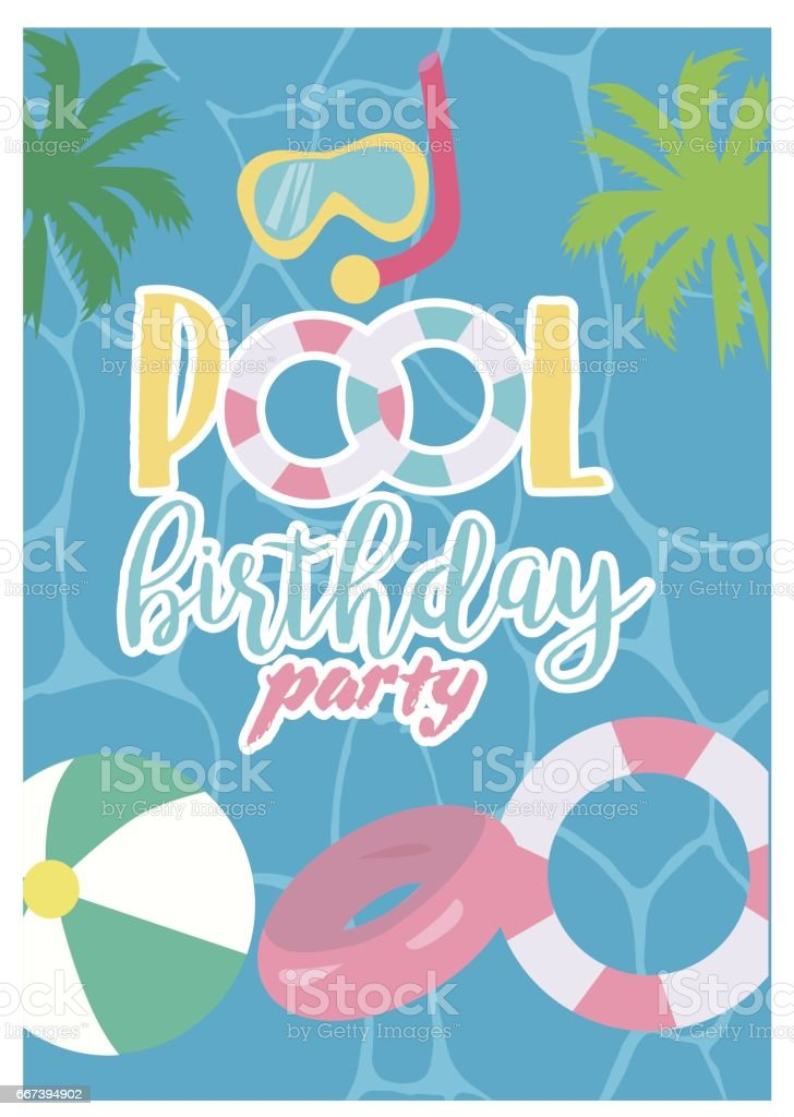 pool party card template summer beach party vector illustration