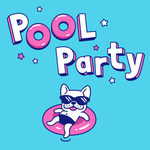 Pool party cartoon illustration Pool Party with funny cartoon dog in sunglasses on pool float. Summer party invitation or poster vector illustration. pool party stock illustrations