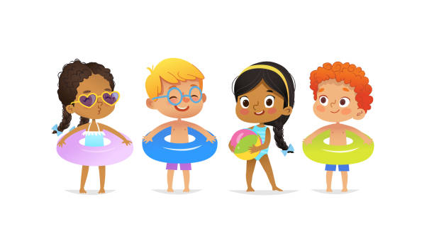ilustrações de stock, clip art, desenhos animados e ícones de pool party characters. multiracial boys and girls wearing swimming suits and rings have fun in pool. african-american girl standing with ball. cartoon characters.  isolated. - swim arms