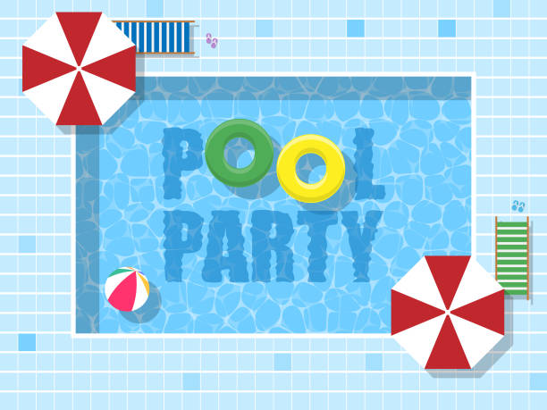 Pool Party flat design top view illustration Pool Party flat design top view vector illustration pool party stock illustrations