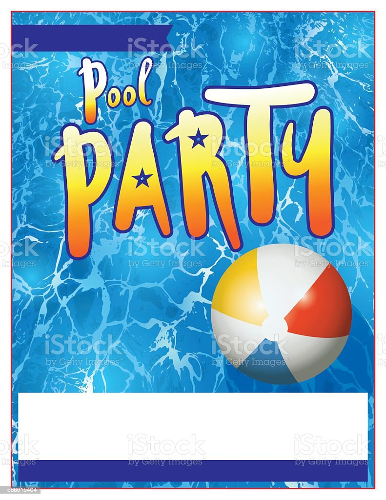 Pool Party Flyer Invitation Illustration royalty-free pool party flyer invitation illustration stock vector art & more images of beach ball