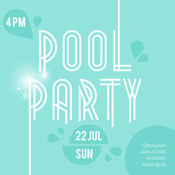 Pool party flyer, poster, invitation or banner template. Vector illustration flat design Pool party flyer, poster, invitation or banner template. Vector illustration flat design pool party stock illustrations