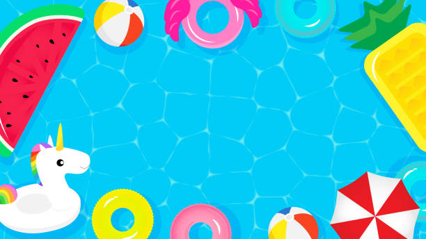 ilustrações de stock, clip art, desenhos animados e ícones de pool party frame background vector illustration. top view of swimming pool with cute pool floats. - brinquedos na piscina