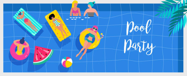 Pool party invitation, background and banner with miniature people swimming and having fun on the pool. Vector illustration Pool party invitation, background and banner with miniature people swimming and having fun on the pool. Vector illustration template pool party stock illustrations