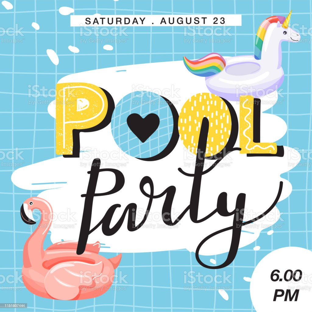 Pool Party Invitation Banner Stock Illustration Download Image Now