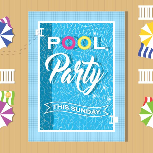 Pool party invitation design. Template for flyer and poster. Pool party invitation design. Template for flyer and poster. Vector illustration. pool party stock illustrations