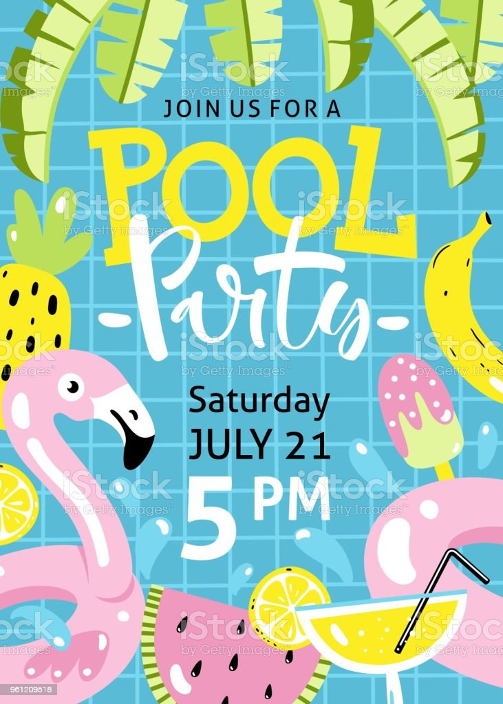 pool party invitation flamingo pool float cocktail banana leaves