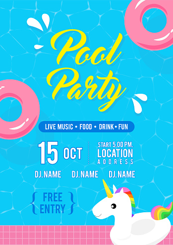 Pool party invitation flyer vector illustration, Top view of swimming pool with unicorn pool float and pink inflatable ring floating on water.
