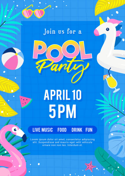 Pool party invitation poster vector illustration. Top view of swimming pool with cute pool floats. Pool party invitation poster vector illustration. Top view of swimming pool with cute pool floats. pool party stock illustrations