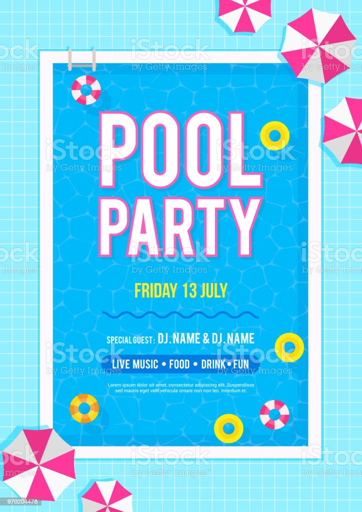 pool party invitation poster vector illustration top view of