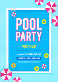 Pool party invitation poster vector illustration. Top view of swimming pool with swim rings and beach umbrellas.