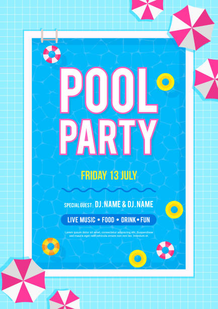 Pool party invitation poster vector illustration. Top view of swimming pool with swim rings and beach umbrellas. Pool party invitation poster vector illustration. Top view of swimming pool with swim rings and beach umbrellas. pool party stock illustrations