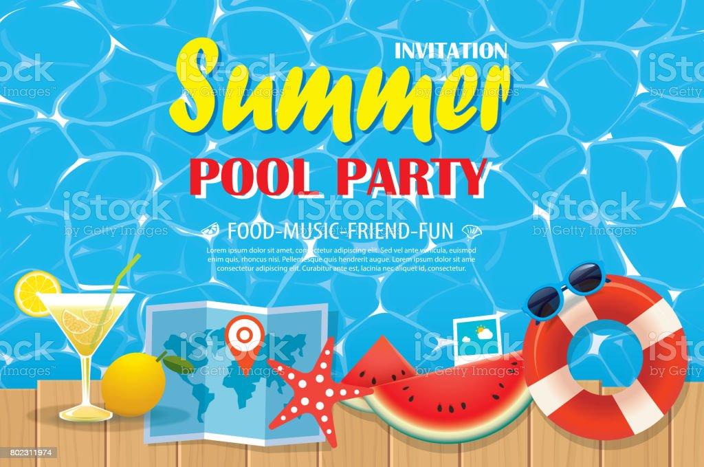 Pool Party Einladung Plakat Mit Blauem Wasser Und Holz ...