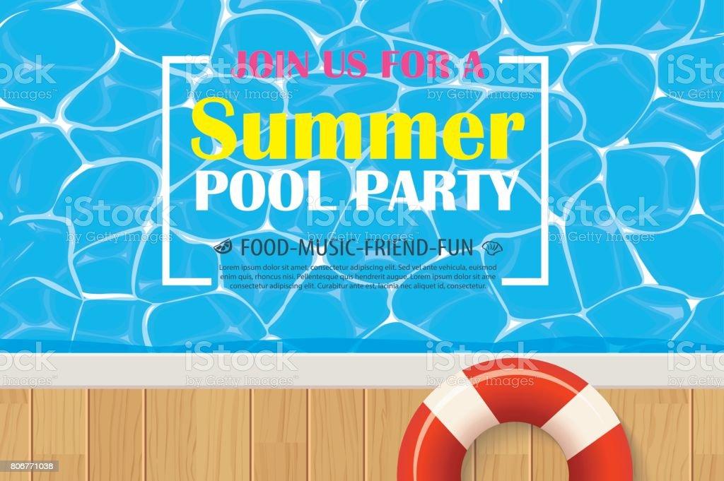 Pool Party Einladung Plakat Mit Blauem Wasser ...