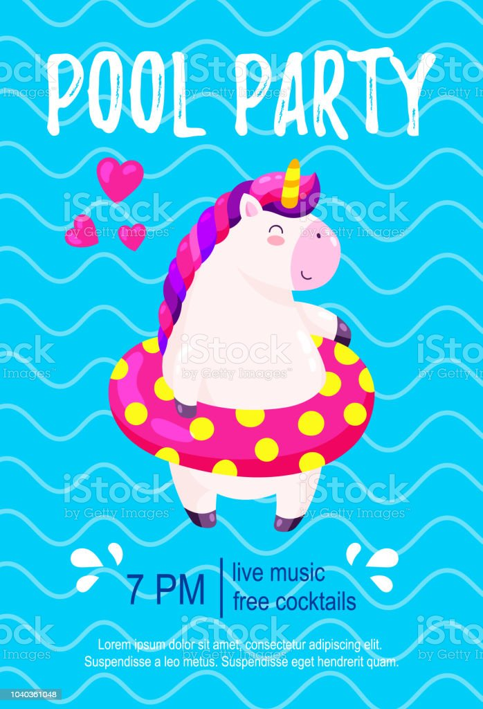 Pool Party Invitation Template Background For Banner Flyer Vector