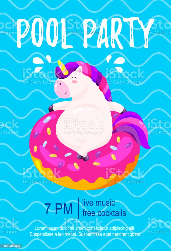 Pool Party Invitation Template Background For Banner Flyer