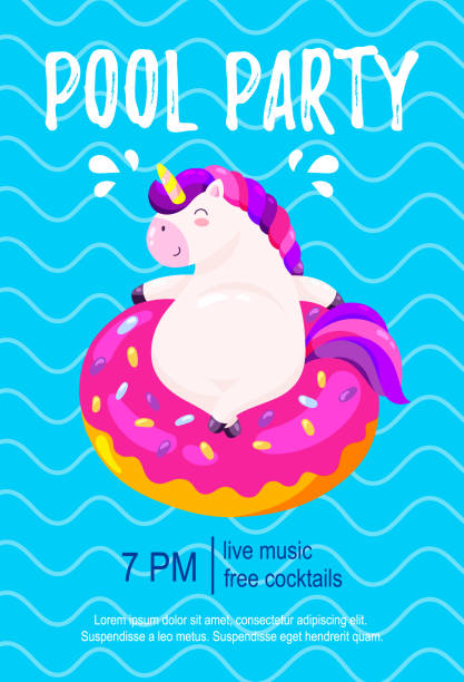 Pool party invitation. Template, background for banner, flyer. Vector illustration with cute unicorn Template, background for banner, flyer. Vector illustration with cute unicorn pool party stock illustrations