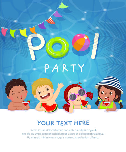 Pool Party Invitation Template Card With Kids Enjoying In