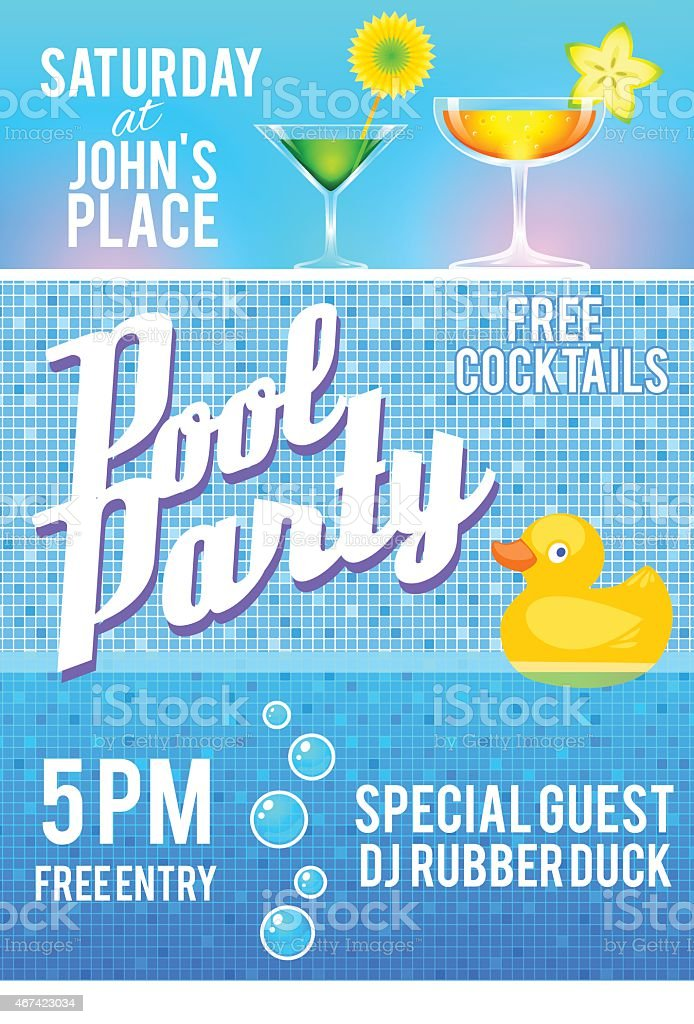 Pool Party Invitation Template Stock Vector Art & More Images of ...