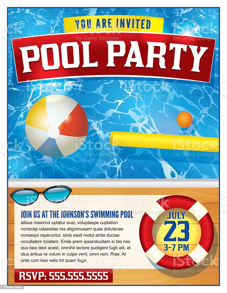 Pool Party Invitation Template stock vector art 534047368 | iStock