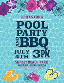 Pool Party Invitation Template With Hibiscus