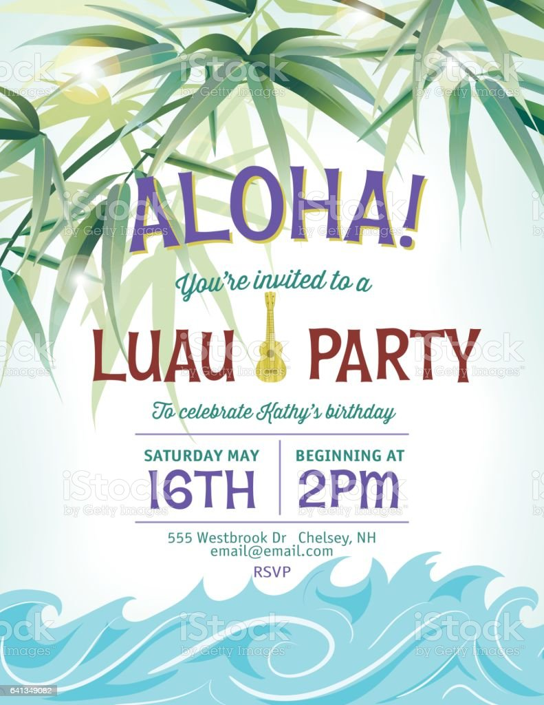 Pool Party Invitation Template With Palm Trees And Waves stock ...