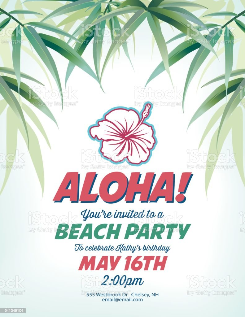 Pool Party Invitation Template With Palm Trees And Waves Vektor