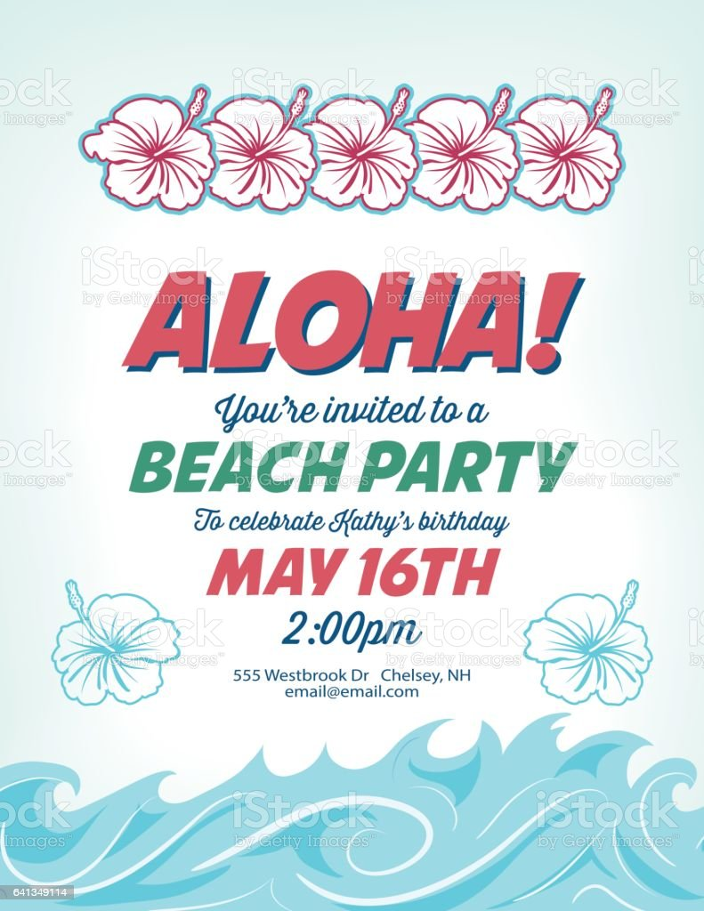Pool Party Invitation Template With Palm Trees And Waves Lizenzfreies
