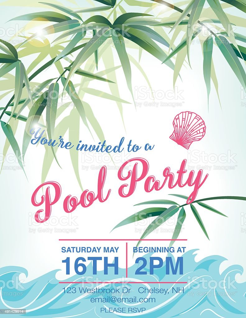 Pool Party Invitation Template With Palm Trees stock vector art – Pool Party Invite Template