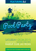 Bright pool party poster vector background design
