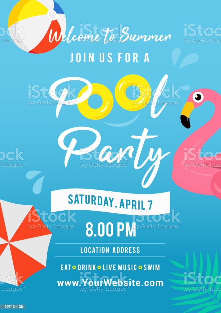 Pool party invitation vector illustration. Swimming pool with pool toys.