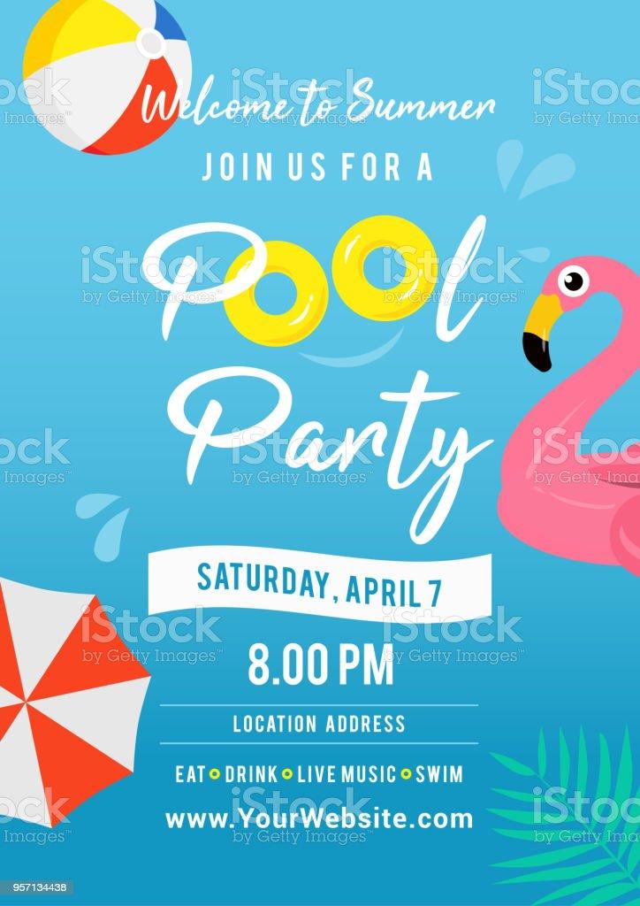 プール パーティー招待ベクトル イラスト。プールのおもちゃとスイミング プール。 ベクターアートイラスト