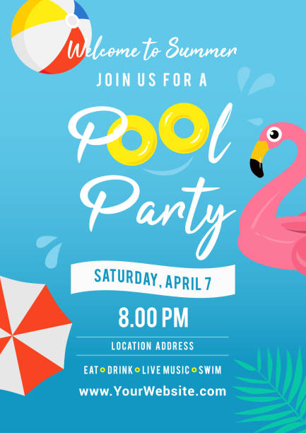 pool party invitation vector illustration. swimming pool with pool toys. - summer background stock illustrations