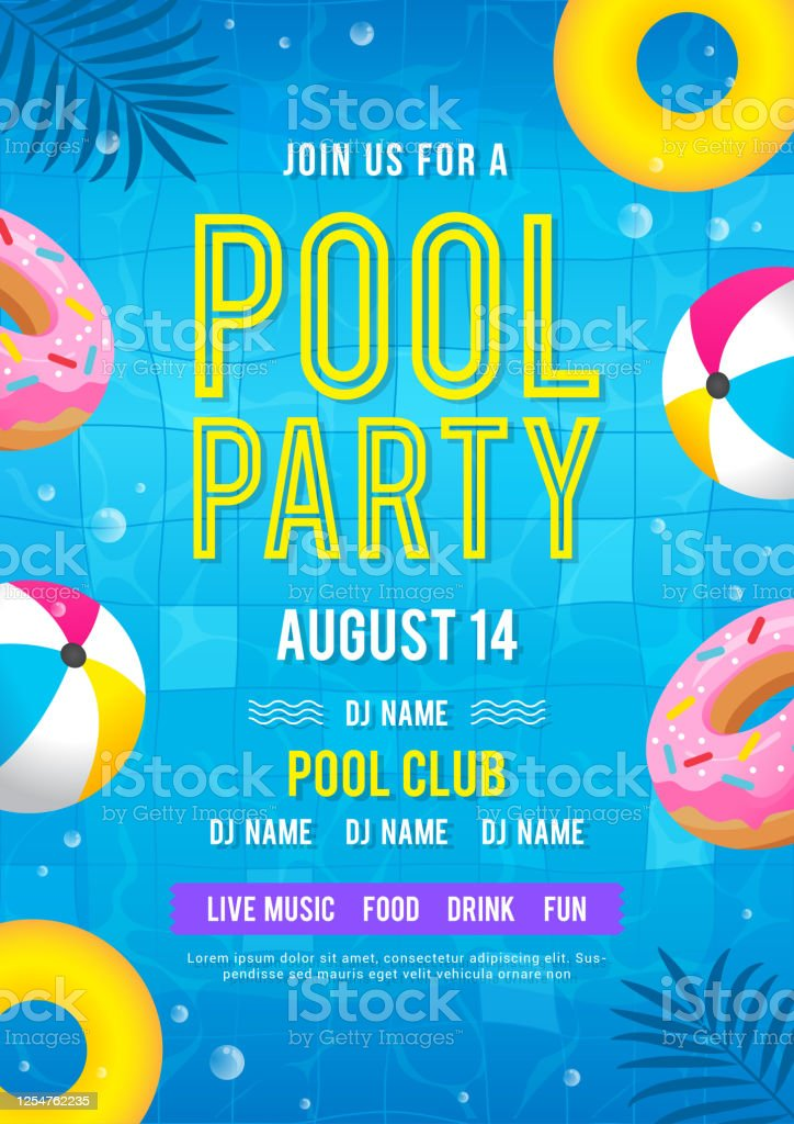 Pool Party Invitation Vector Illustration Top View Of Swimming Pool With Balls And Donut Pool Floats Stock Illustration Download Image Now Istock