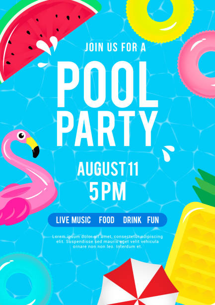 pool party invitation vector illustration. top view of swimming pool with pool floats. - summer background stock illustrations