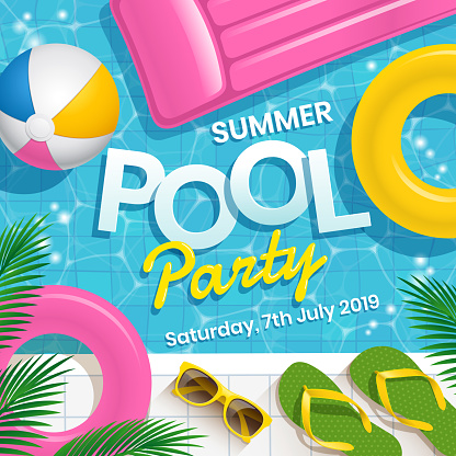 Pool party invitation vector illustration with water swimming pool vector background.