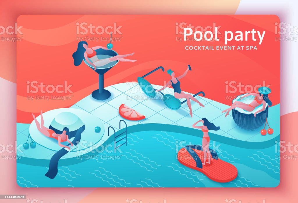 Pool party isometric 3d illustration with cartoon people in swimsuit,...